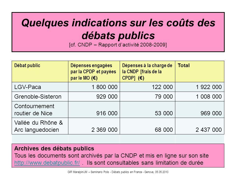 Quelques indications sur les coûts des débats publics [cf